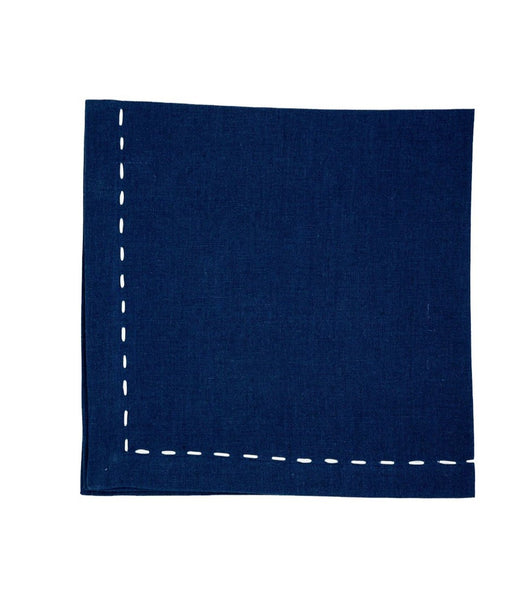 Linen Napkins, Sapphire with White Saddle Stitch