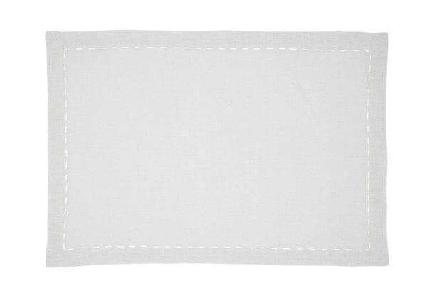 Linen Placemats, Quartz with White Saddle Stitch, Set of 4