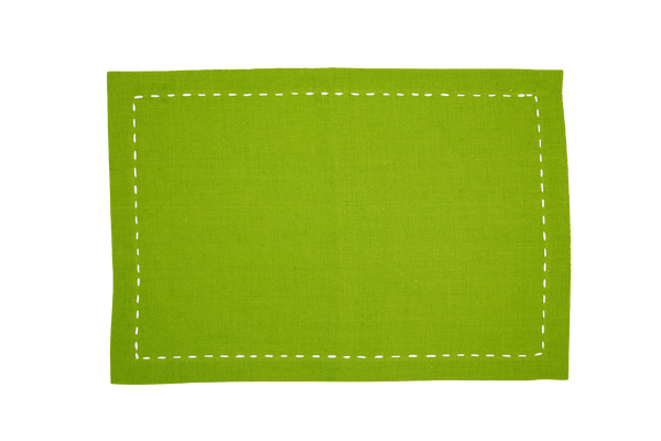 Linen Placemats, Green Apple with White Ribbon