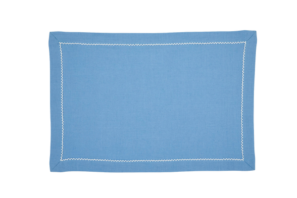 Linen Placemats, Cool Blue with White Pico Edge