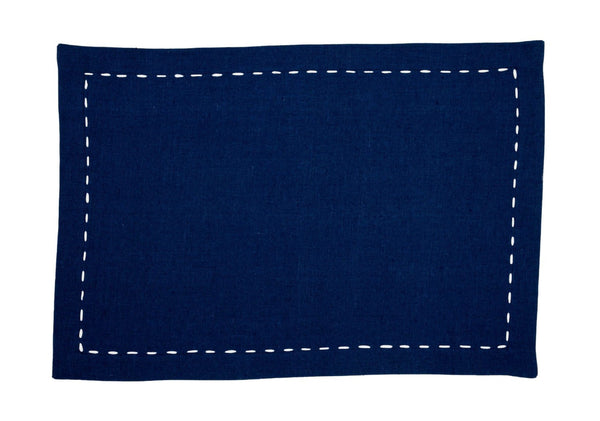 Linen Placemats, Sapphire with White Saddle Stitch, Set of 4