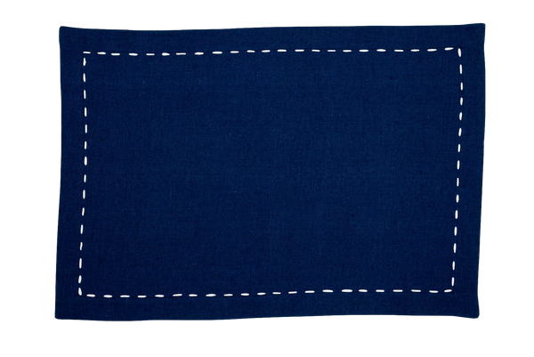 Linen Placemats, Sapphire with White Ribbon