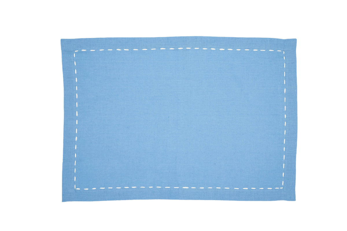 Linen Placemats, Cool Blue with White Saddle Stitch