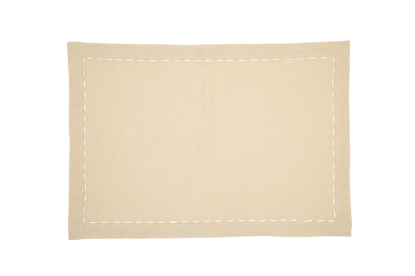 Linen Placemats, Cypress Canvas with White Saddle Stitch, Set of 4