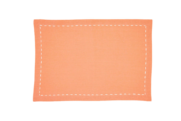 Linen Placemats, Salmon with White Saddle Stitch, Set of 4