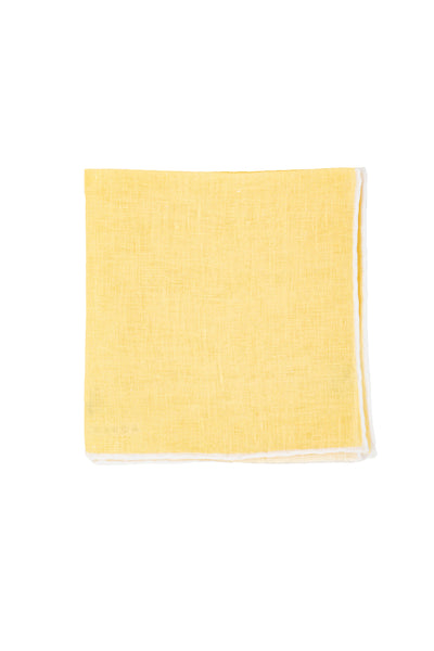 Robert Jensen Solid Linen Pocket Square, Yellow