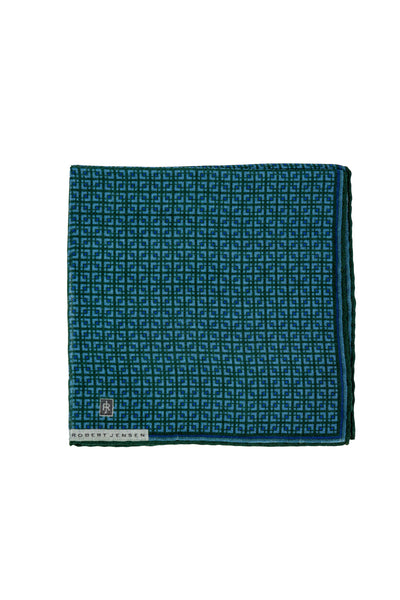 Robert Jensen Square Printed Pocket Square, Green