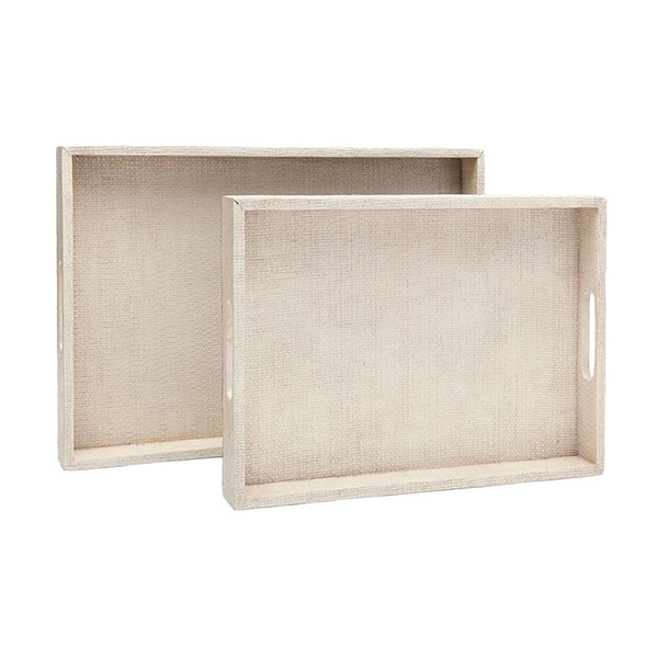 Sutton White Raffia Tray