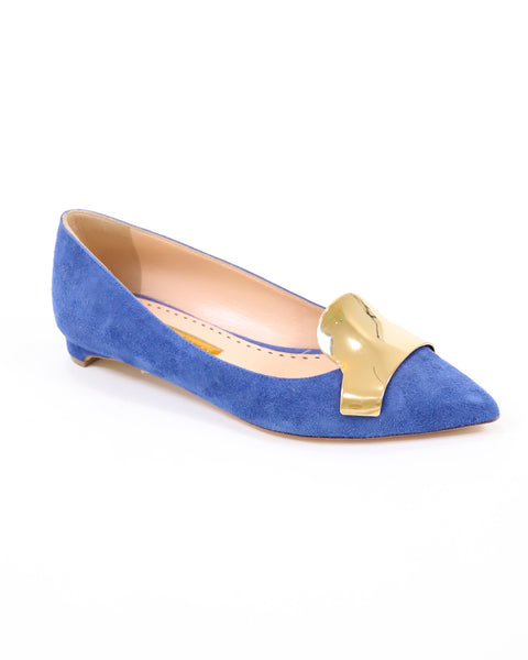 Rupert Sanderson Temple Suede Flat with Gold Chrome