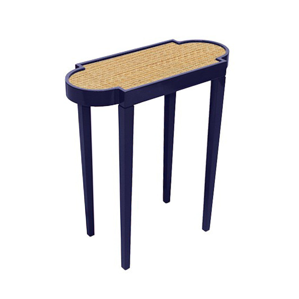 Navy and Raffia Accent Table
