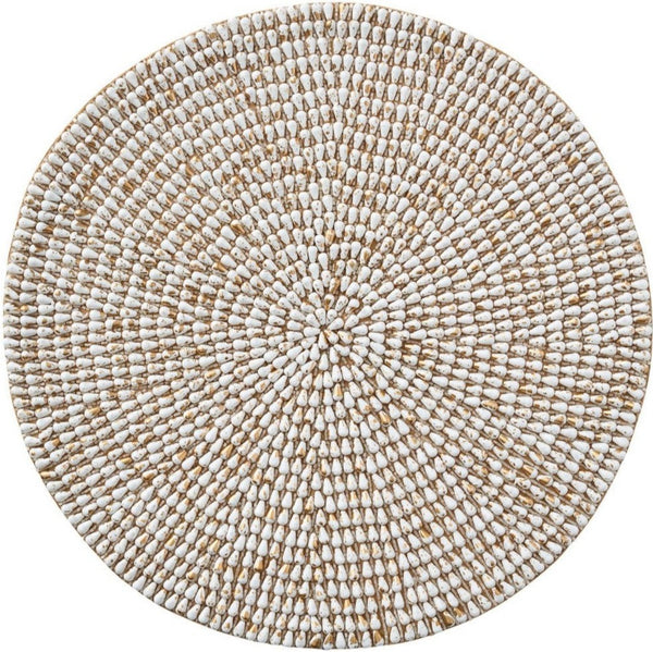 Jackson Shell Placemat, White/Gold