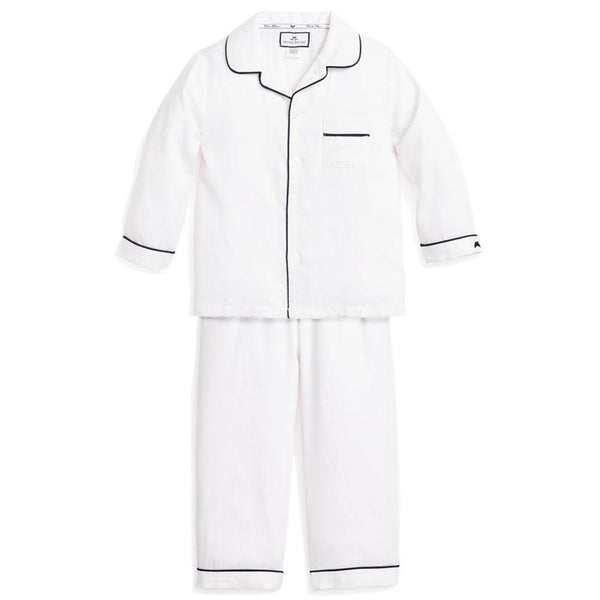 Childrens White Pajamas with Navy Piping