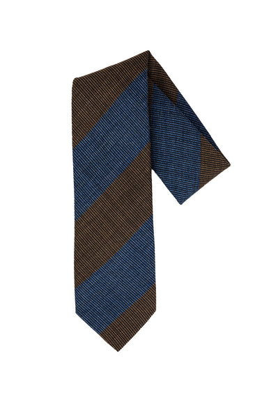 Robert Jensen Wide Diagonal Stripes Printed Tie, Brown