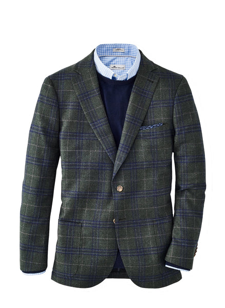 Peter Millar Wintertime Windowpane Soft Jacket, Jurassic Green