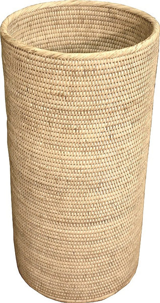 Round Woven Rattan Umbrella Stand, White Washed
