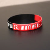 Empower Motivate Conquer Adult Red and Black Wristband