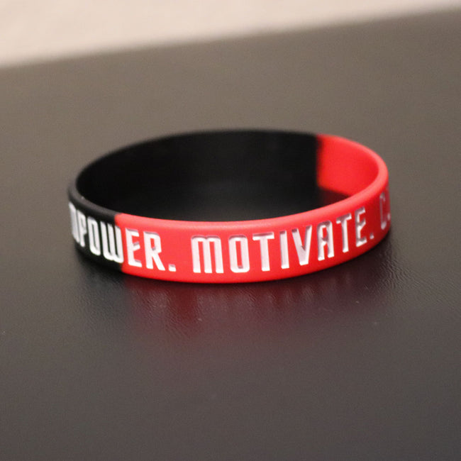 Empower Motivate Conquer Adult Red and Black Wristband - Deviant Sway