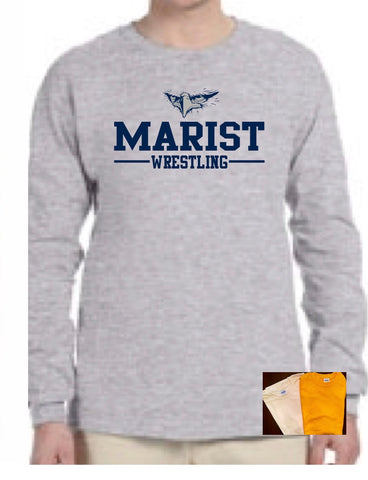 Ultra Cotton 6 oz. Long Sleeve Tee - Marist Wrestling - Offered in Youth and Adult Sizes