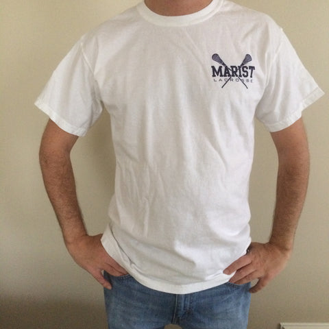 Short Sleeve Tee with Sticks - Unisex - Adult and Youth Sizes - Comfort Color - Marist Lacrosse