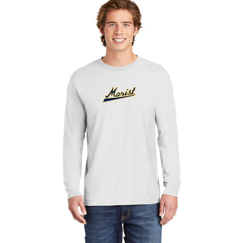 Comfort Colors Long -Sleeve Tee - Youth and Adult Sizes - White - Baseball