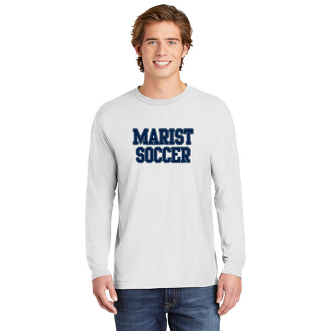 Comfort Colors Long -Sleeve Tee - Youth and Adult Sizes - White - Soccer