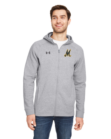 Under Armour Hustle Full-Zip Hooded Sweatshirt - Baseball - Grey - NEW for 2021