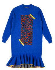 Hand Embroidered Front Panel Mermaid Knit Dress in Blue - RUNWAY UNICORN