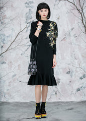 Lace Embellished Mermaid knit Dress in Black - RUNWAY UNICORN