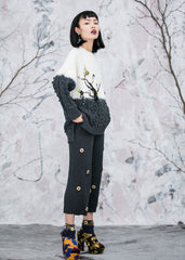 Ume Blossom Hand Embroidered Cable-Knit Wool Sweater - RUNWAY UNICORN