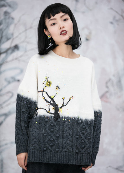 Ume Blossom Hand Embroidered Cable-Knit Wool Sweater