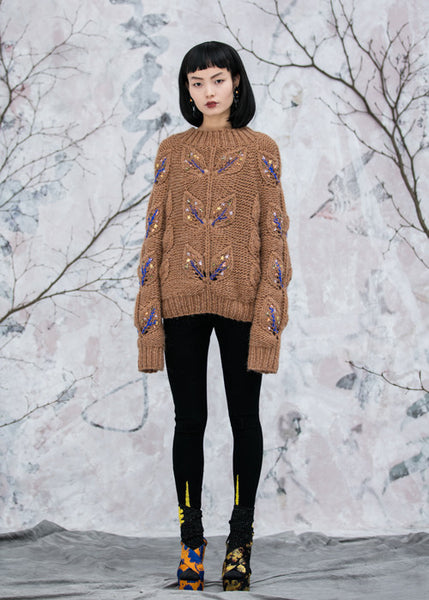 Hand Embroidered Oversized Sweater in Taupe