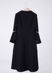 Pearl Embellished Cutout Sleeve V neck Coat in Black - RUNWAY UNICORN