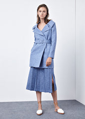 Pleated Midi Skirt in Heather Grey with Blue Undertone - RUNWAY UNICORN
