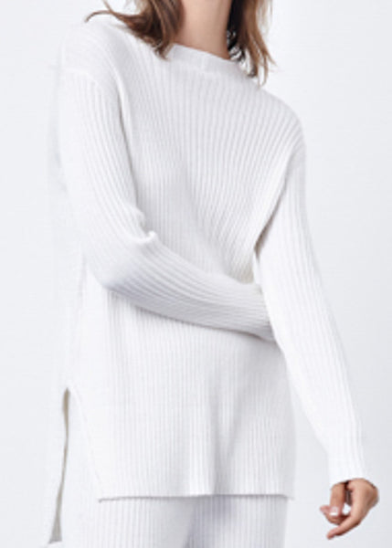 Relaxed Crew Neck Sweater in White