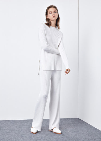Relaxed Knit Pants in White