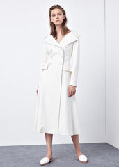 Wide Collar Flared Off-center Placket Coat in White - RUNWAY UNICORN