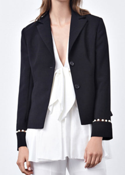 Pearl Embellished Cutout Sleeve Blazer in Black