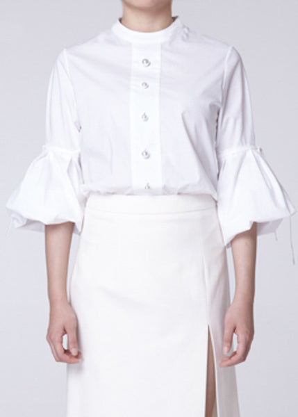 Bell Sleeve Pearl Embellished Shirt in White