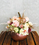 Rose Gold Pumpkin Table Centre Design Arrangement