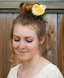 Small Garden Rose Hair Bun Adornment Headpiece