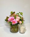 Blush Pink Vase Arrangement & Candle for Mom