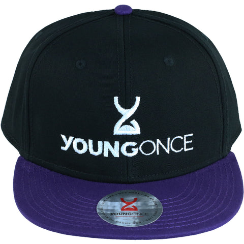 Young Once Embroidered Snapback Hat Purple-Black front view