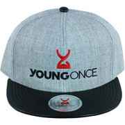 Young Once Embroidered Snapback Hat Black-Gray front view