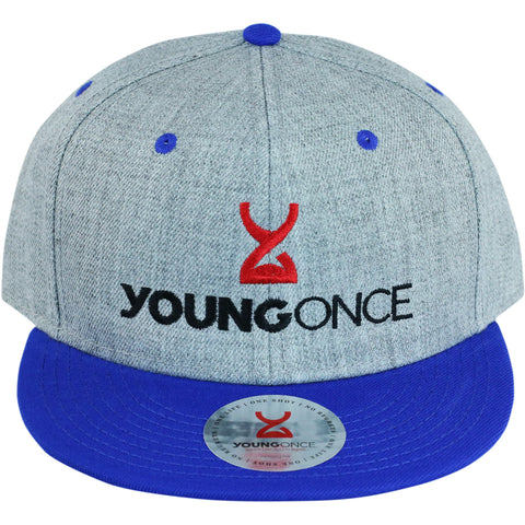 Young Once Embroidered Snapback Hat Blue-Gray front view