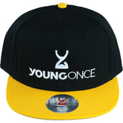 Young Once Embroidered Snapback Hat Yellow-Black front view