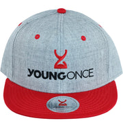 Young Once Embroidered Snapback Hat Red-Gray front view