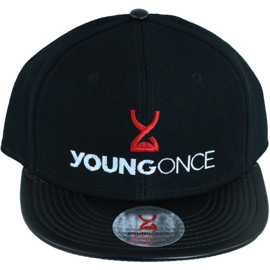 Young Once Embroidered Snapback Hat Black front view