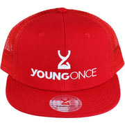 Young Once Embroidered Snapback Hat Red front view