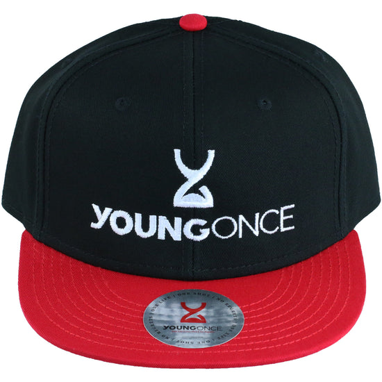 Young Once Embroidered Snapback Hat Red-Black front view