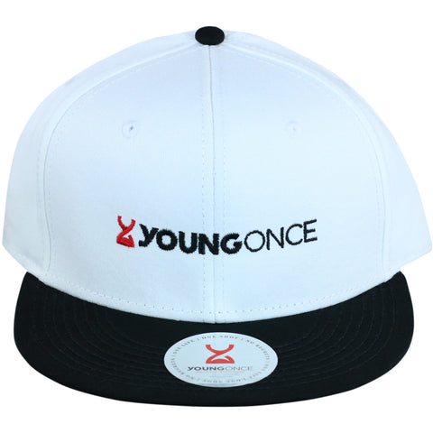 Young Once Embroidered Snapback Hat Black-White front view
